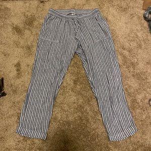Linen Navy Striped Pants